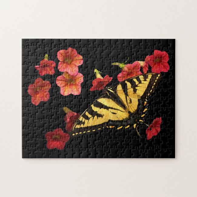 Butterfly and Red Flowers Jigsaw Puzzle