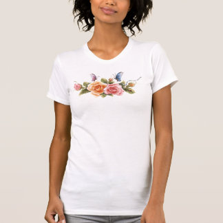 butterfly and rose ladies tshirt