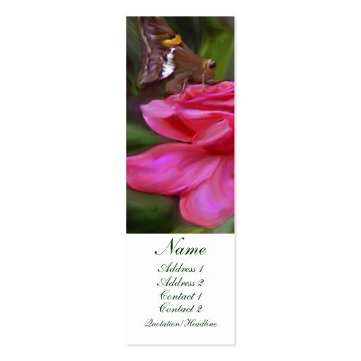 Butterfly and Rose Profile card Double-Sided Mini Business Cards (Pack Of 20)
