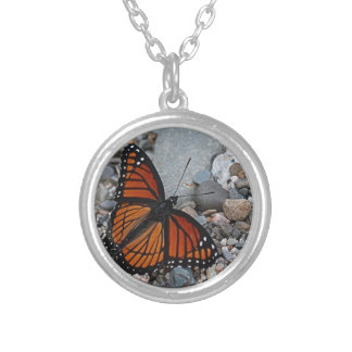 Butterfly and Stones Silver Plated Necklace