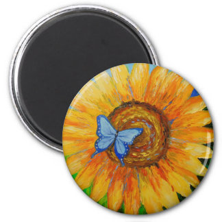 Butterfly and sunflower magnet