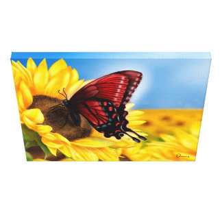Butterfly and Sunflower painting. Canvas Print