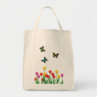 Butterfly and Tulips Grocery Tote Bag