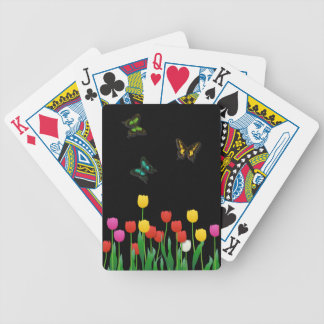 Butterfly and Tulips Bicycle Playing Cards
