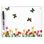 Butterfly and Tulips Dry-Erase Whiteboard