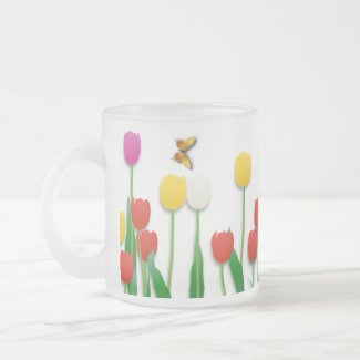 Butterfly and Tulips mug