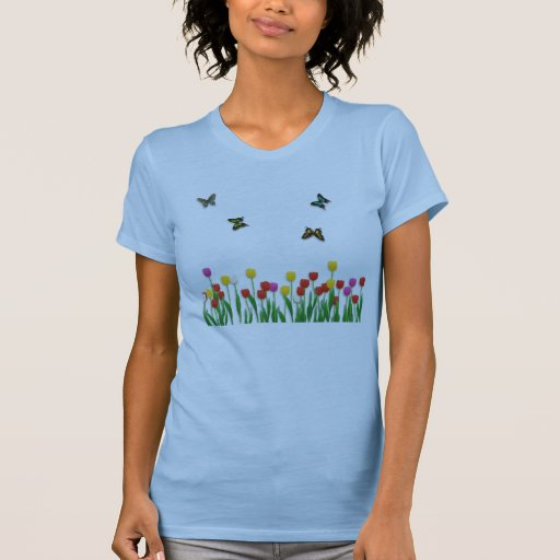 Butterfly and Tulips Tank Tops