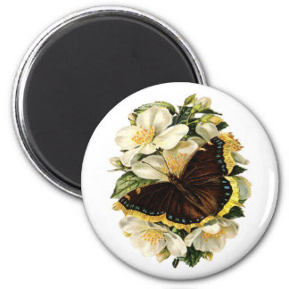 BUTTERFLY AND WHITE FLOWERS MAGNET