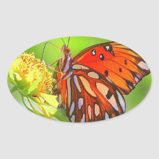 Butterfly and Wildflower Photo Oval Stickers
