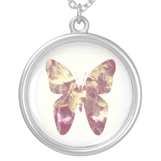 Butterfly Angel Round Pendant Necklace