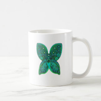Butterfly Angel with Blue Green Wings Classic White Coffee Mug