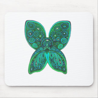 Butterfly Angel with Blue Green Wings Mouse Pad