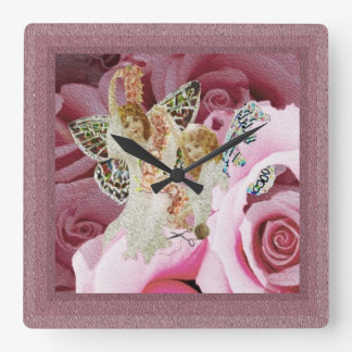 Butterfly Angels Making Wreaths Wall Clock