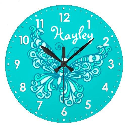Butterfly aqua mint girls room name wall clock