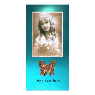 BUTTERFLY AQUAMARINE ,red blue Photo Card