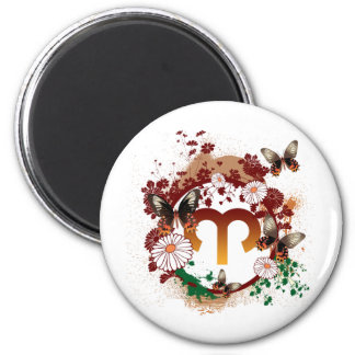 Butterfly Aries 2 Inch Round Magnet