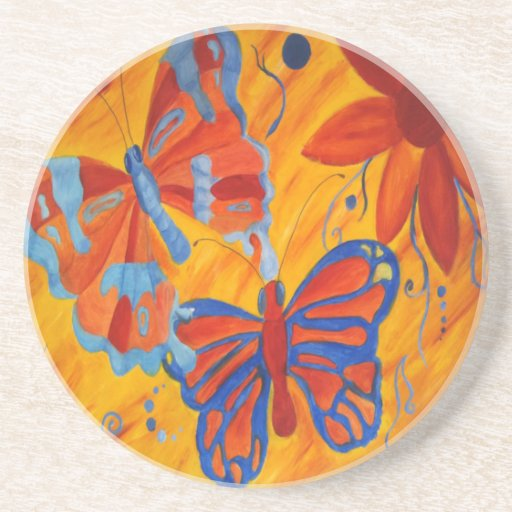 BUTTERFLY ART BEVERAGE COASTERS