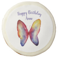 Butterfly Art Custom Name  Birthday Sugar Cookie