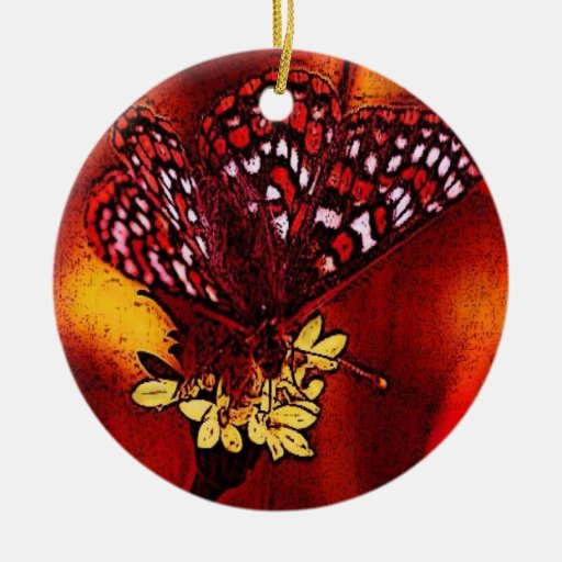 Butterfly Art Double-Sided Ceramic Round Christmas Ornament