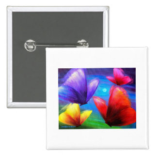 Butterfly Art Painting - Multi 2 Inch Square Button