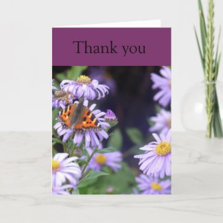 Butterfly At Rest On Flowers Thankyou Card