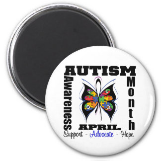 Butterfly - Autism Awareness Month 2 Inch Round Magnet