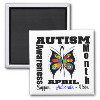 Butterfly - Autism Awareness Month 2 Inch Square Magnet