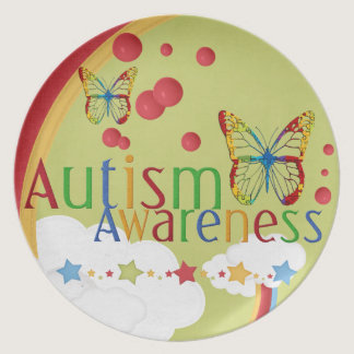 Butterfly Autism Awareness Plate