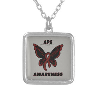 Butterfly/Awareness...APS Silver Plated Necklace
