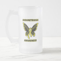 Butterfly/Awareness...Endometriosis Frosted Glass Beer Mug