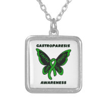 Butterfly/Awareness...Gastroparesis Silver Plated Necklace