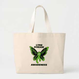 Butterfly/Awareness...Lyme Disease Large Tote Bag