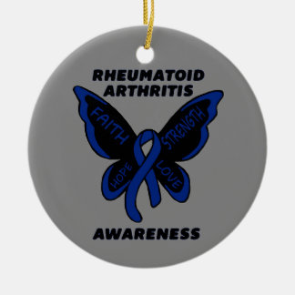 Butterfly/Awareness...RA Ceramic Ornament
