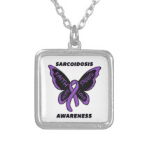 Butterfly/Awareness...Sarcoidosis Silver Plated Necklace