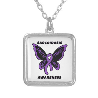 Butterfly/Awareness...Sarcoidosis Square Pendant Necklace