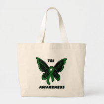 Butterfly/Awareness...TBI Large Tote Bag