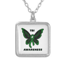 Butterfly/Awareness...TBI Silver Plated Necklace