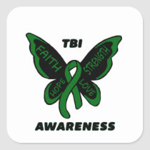 Butterfly/Awareness...TBI Square Sticker