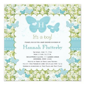 Butterfly Baby Boy Shower Invitations Monogrammed