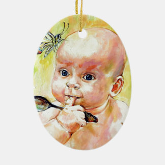 Butterfly Baby Ceramic Ornament