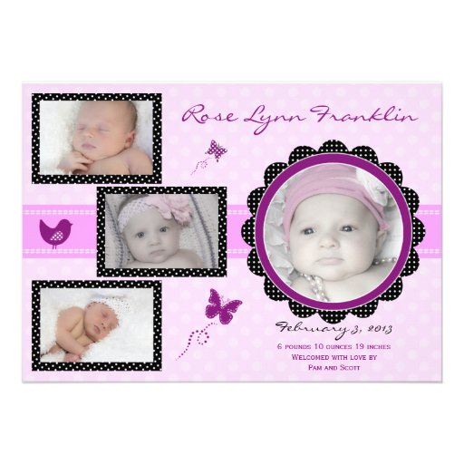 Butterfly Baby Girl Photo Birth Announcement