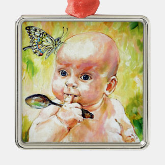 Butterfly Baby Metal Ornament