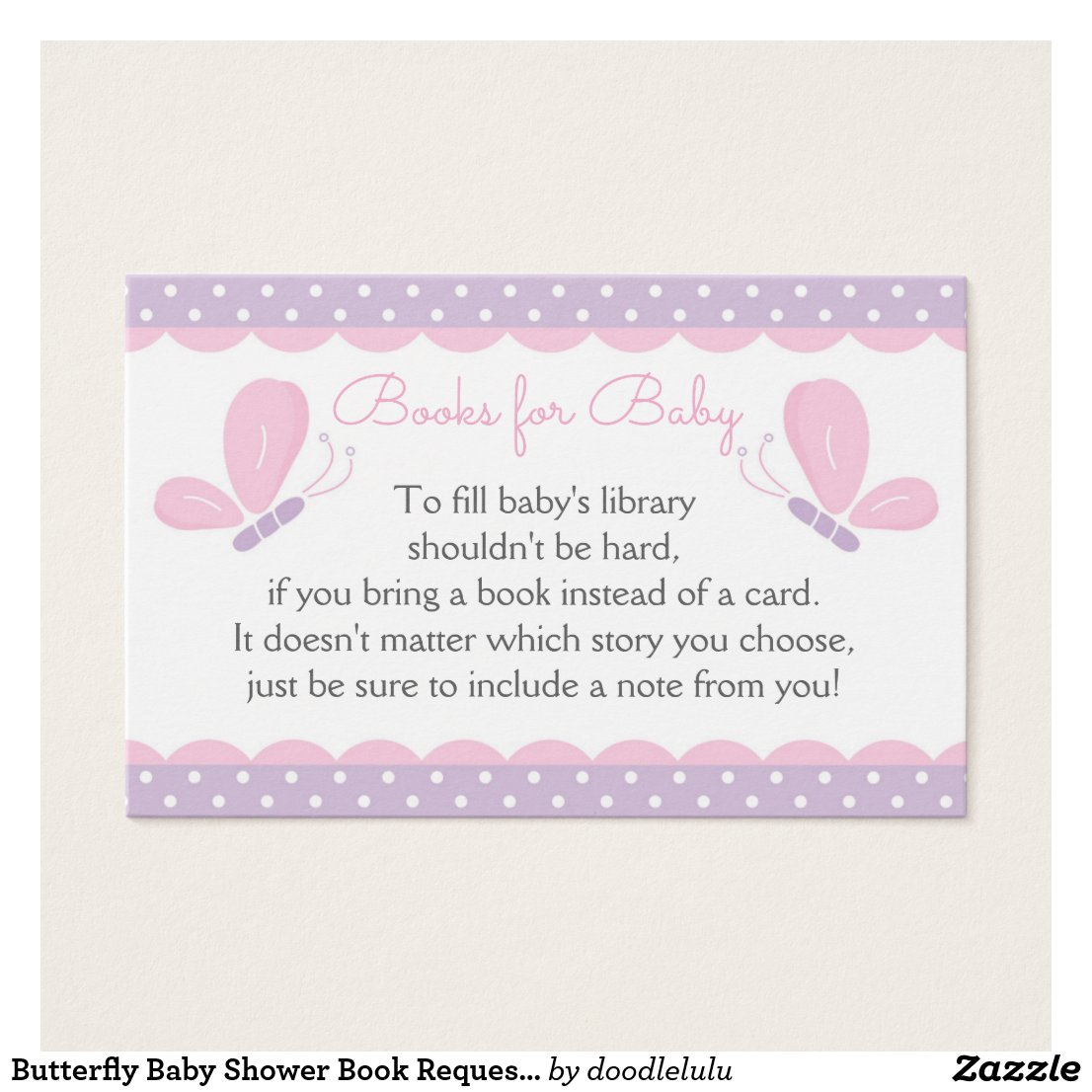 Butterfly Baby Shower Book Request Card purplepink