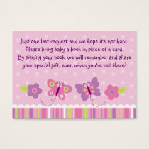 Butterfly Baby Shower Book Request Cards