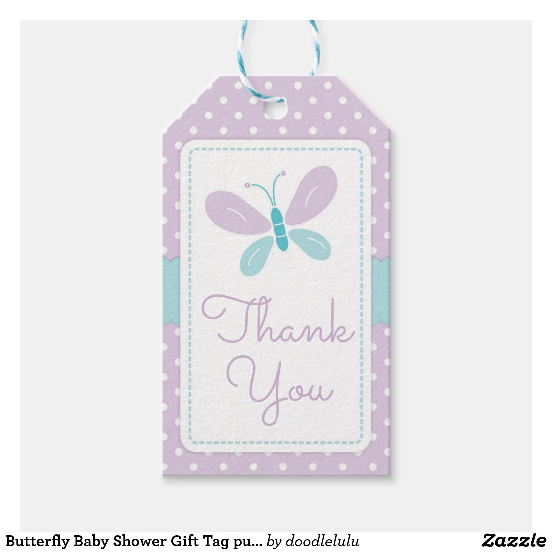 Butterfly Baby Shower Gift Tag purple and blue