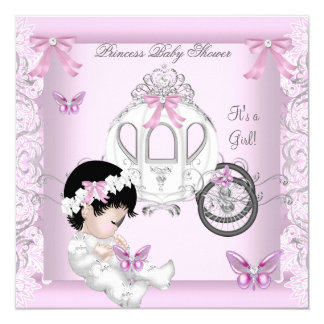 Butterfly Baby Shower Girl Princess Carriage 5.25x5.25 Square Paper Invitation Card