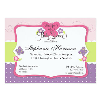 Butterfly Baby Shower in Purple Pink and Green 5x7 Paper Invitation Card