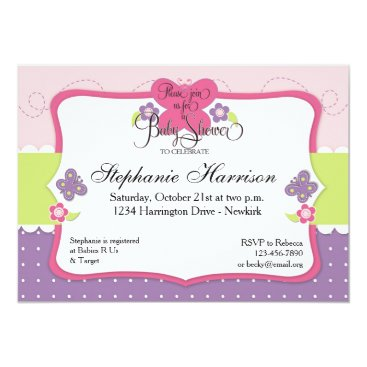 Toddler & Baby themed Butterfly Baby Shower in Purple Pink and Green Card