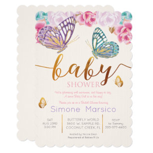Flower garden baby shower invitations announcements zazzle butterfly baby shower invitation filmwisefo Images