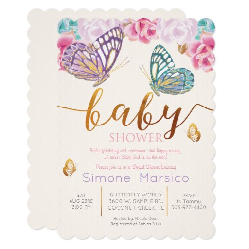 Butterfly Baby Shower Invites: Spring Fresh Baby Shower Designs